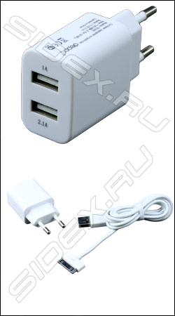 ��������� ������� �������� ���������� 2 usb 1 a / 2.1 a deppa + usb ������ ��� apple (�����)