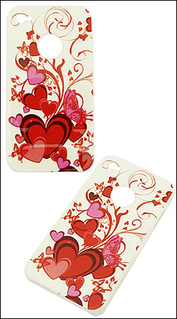 накладка для iphone 4 crystal case (red hearts)