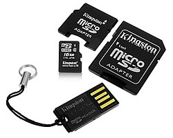 microsdhc 16gb + usb адаптер + 2 адаптера sd/minisd (kingston mblyg2/16gb)
