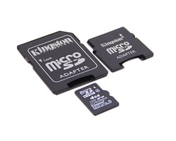 microsdhc 4gb + 2 адаптера sd/minisd (kingston sdc4/4gb-2adp)