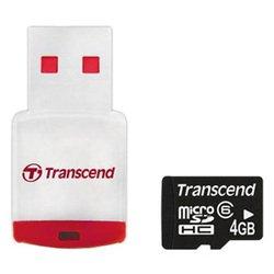 MicroSDHC 4GB + USB адаптер (Transcend TS4GUSDHC6-P3)
