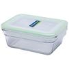 Контейнер пищевой Glasslock OCRT-090 (900 мл) (стекло) - Посуда для готовкиПосуда для готовки<br>Glasslock OCRT-090 - пищевой контейнер, форма прямоугольная, объем 900 мл, материал закаленное стекло, крышка с защелками, ручки для переноски, использование в СВЧ, размеры: 185х140х80 мм.<br>