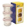 Набор контейнеров Glasslock GL-545 (стекло) - Посуда для готовкиПосуда для готовки<br>Glasslock GL-545 - набор круглых контейнеров, 3 штуки, объем - 0.165 л, материал - закаленное стекло.<br>