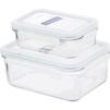 Набор контейнеров Glasslock GL-1045 (стекло) - Посуда для готовкиПосуда для готовки<br>Glasslock GL-1045 - набор прямоугольных контейнеров для еды, 2 штуки, 0.4 л, 1.09 л, материал - закаленное стекло.<br>