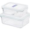 Набор контейнеров Glasslock GL-1196 (стекло) - Посуда для готовкиПосуда для готовки<br>Glasslock GL-1196 - набор прямоугольных контейнеров, 2 штуки, 0.4 л, 0.695 л, материал - закаленное стекло.<br>