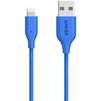Кабель Lightning-USB для Apple iPhone 5, 5C, 5S, SE, 6, 6 plus, 6S, 6S plus, 7, 7 plus, iPad 4, Air, Air 2, mini, mini 2, 3, 4, PRO 12.9, PRO 9.7, iPod Nano 7gen, Touch 5Gen (Anker PowerLine A8111H31) (голубой) - Usb, hdmi кабельUSB-, HDMI-кабели, переходники<br>Кабель с разъемами Lightning-USB, усилен кевларовым волокном, благодаря увеличенному диаметру провода и пониженным сопротивлением даёт максимально возможную скорость заряда, имеет сертификат MFi.<br>