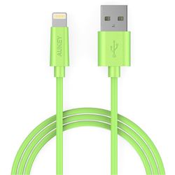 Кабель Lightning-USB для Apple iPhone 5, 5C, 5S, SE, 6, 6 plus, 6S, 6S plus, 7, 7 plus, iPad 4, Air, Air 2, mini, mini 2, 3, 4, PRO 12.9, PRO 9.7, iPod Nano 7gen, Touch 5Gen (Aukey CB-D20) (зеленый)