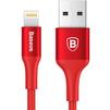 Кабель Lightning-USB для Apple iPhone 5, 5C, 5S, SE, 6, 6 plus, 6S, 6S plus, 7, 7 plus, iPad Air, Air 2, mini, mini 2, 3, 4, PRO 12.9, PRO 9.7, Pro 10.5, iPod Nano 7gen, Touch 5Gen (Baseus Rui Series CALDR-09) (красный) - Usb, hdmi кабельUSB-, HDMI-кабели, переходники<br>Кабель с разъемами Lightning-USB, шнур с нейлоновой оплеткой и алюминиевые коннекторы, имеет сертификат MFi, зарядка с силой тока до 2.4 А.<br>
