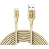 Кабель USB-microUSB 3м (Anker Powerline+ A8144HB1) (золотистый) - Usb, hdmi кабель, переходникUSB-, HDMI-кабели, переходники<br>Сверхмощный кабель для зарядки и синхронизации устройств с соответствующим разъемом, длина 3м.<br>