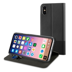 Чехол-книжка для Apple iPhone X (Muvit Folio Stand MUFLS0134) (черный)