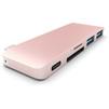 USB-хаб Satechi Combo Hub ST-TCUPR (розовый) - USB HUBUSB HUB<br>USB Хаб, пассивный, разъемы USB: 2 разъема USB 3.0, 1 разъем USB-C, материал корпуса: алюминий. Поддержка карт памяти: SD, Micro SD; питание: USB-C. Подходит для Apple MacBook.<br>