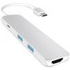 USB-хаб Satechi Slim Aluminum ST-CMAS (серебристый) - USB HUBUSB HUB<br>USB Хаб, пассивный, материал корпуса: алюминий. Подключение к ПК: USB Type C. Количество портов: 4 шт. Типы выходов: HDMI с поддержкой 4K, 2xUSB 3.0, USB Type C.<br>