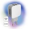 Универсальное сетевое зарядное устройство, адаптер 2хUSB, 2.1А (Ginzzu GA-3008W) (белый)  - Сетевой адаптер 220v - USB, ПрикуривательСетевые адаптеры 220v - USB, Прикуриватель<br>Ginzzu GA-3008W - сетевое зарядное устройство от сети переменного тока 220В, разъемов 2 USB, 5V/2100мА, защита от перегрузки и короткого замыкания.<br>