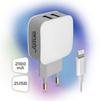 Сетевое зарядное устройство 2хUSB, 2.1А + кабель Lighting (Ginzzu GA-3010UW) (белый) - Сетевое зарядное устройствоСетевые зарядные устройства<br>Ginzzu GA-3010UW - сетевое зарядное устройство от сети переменного тока 220В, разъемов 2 USB, 5V/2100мА, защита от перегрузки и короткого замыкания. В комплекте кабель Lighting 8 pin, длина 1м.<br>