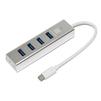 5bites HB34C-309SL (серебристый) - USB HUBUSB HUB<br>USB-концентратор, 4хUSB3.0, встроенный USB TYPE-C кабель 17см, предусмотрен разъем для подключения внешнего блока питания, материал корпуса: алюминий.<br>