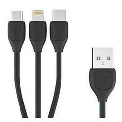 Кабель USB-Lightning, Micro USB, USB Type-C (REMAX Lesu 3 in 1 Cable RC-050th) (черный)