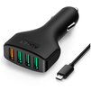 Автомобильное зарядное устройство 4хUSB 9.6А (Aukey CC-T9) (черный) + кабель USB-microUSB - Автомобильное зарядное устройствоАвтомобильные зарядные устройства<br>Aukey CC-T9 — автомобильное зарядное устройство с четырьмя интерфейсами USB, подключаемое в прикуриватель вашего автомобиля. Оно поддерживает работу с технологией быстрой зарядки Quick Charge от компании Qualcomm. Поддержка работы с несколькими версиями Quick Charge. В комплекте кабель USB-microUSB.<br>