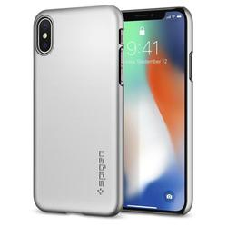 Чехол-накладка для Apple iPhone X (Spigen Thin Fit Series 057CS22113) (серебристый)