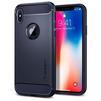 Чехол-накладка для Apple iPhone X (Spigen Rugged Armor 057CS22126) (темно-синий) - Чехол для телефонаЧехлы для мобильных телефонов<br>Защитит смартфон от грязи, пыли, брызг и других внешних воздействий.<br>