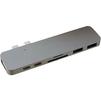USB-хаб HyperDrive Hyper GN28B (серый) - USB HUBUSB HUB<br>USB Хаб, пассивный, количество портов: 7 (HDMI, 40 Гбит/с USB-C, USB-C, SD, MicroSD, 2xUSB 3.1). Материал корпуса: алюминий, LED-индикация. Подключение при помощи двух коннекторов USB-C, подключение двух дополнительных мониторов 4K, передача данных 40 Гбит/с.<br>