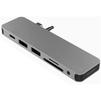 USB-хаб HyperDrive Solo GN21D (серый) - USB HUBUSB HUB<br>USB Хаб, пассивный, количество портов: 7 (HDMI, USB-C, miniJack 3.5 мм, SD, MicroSD, 2xUSB 3.1). Материал корпуса: алюминий, LED-индикация. Подключение при помощи коннектора USB-C и miniJack, подключение дополнительного монитора 4K, передача данных 5 Гбит/с.<br>