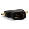 Переходник HDMI F-miniHDMI M/microHDMI M (Smartbuy A119) (черный) - HDMI кабель, переходникHDMI кабели и переходники<br>Переходник предназначен для подключения устройства с выходом micro HDMI, mini HDMI (планшета, смартфона, фотоаппарата, видеокамеры и т.п.) к монитору, телевизору или др. устройству со входом HDMI.<br>