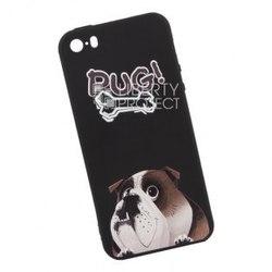 Силиконовый чехол-накладка для Apple iPhone 5, 5s (Liberty Project 0L-00035471) (PUG, черный, английский бульдог Жора)