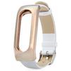 Ремешок для Xiaomi Mi Band (Xiaomi Leather Wristband tmp_838194) (белый/золотистый) - Ремешок для умных часовРемешки для умных часов<br>Ремешок разработан и произведен специального для данной модели. Конструкция надежно удерживает гаджет, оснащена качественной застежкой.<br>