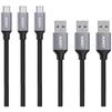 Набор кабелей USB-USB Type C 1м (Aukey CB-CMD1) (серый, 3 шт) - Usb, hdmi кабель, переходникUSB-, HDMI-кабели, переходники<br>Кабели для синхронизации и зарядки устройств, разъемы: USB-USB Type C. Они позволяют передавать данные на скорости до 5 Гбит/с. Плетеный нейлоновый шнур, качественные коннекторы, сопротивление: 56 кОм, длина: 3 x 1 метр.<br>