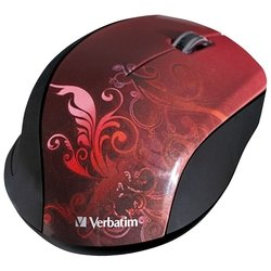 verbatim wireless optical design mouse red usb