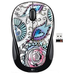 logitech wireless mouse m325 floral foray black usb