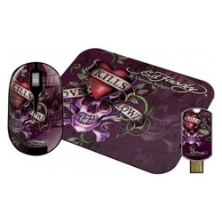 ed hardy wireless mouse+pad+usb flash love kills slowly black usb
