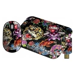 ed hardy wireless mouse+pad+usb flash full color black usb