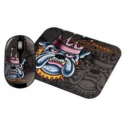 ed hardy wireless mouse+pad king dog black usb