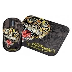 ed hardy wired mouse+pad tiger black usb