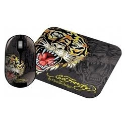 ed hardy wireless mouse+pad tiger black usb