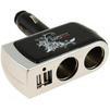Разветвитель прикуривателя на 2 гнезда + 2хUSB (Phantom PH2152) (черный, серебристый) - Разветвитель прикуривателяРазветвители прикуривателя<br>Входное напряжение - 12/24 В, максимальный ток потребления - 5 A, суммарная мощность - 60 Вт, количество разъемов USB- 2 шт, максимальный ток разъемов USB - 1 A, регулируемый угол наклона.<br>