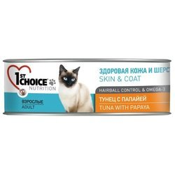 1st Choice (0.085 кг) 1 шт. HEALTHY SKIN and COAT Tuna with Papaya for ADULT CATS canned