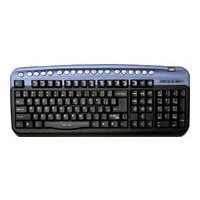 oklick 320 m multimedia keyboard blue usb+ps/2 (черный/голубой)