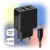 Универсальное сетевое зарядное устройство, адаптер 2хUSB, 3.1A (Ginzzu GA-3312UB)  - Сетевое зарядное устройствоСетевые зарядные устройства<br>СЗУ - 2 USB порта - 5V/3.1А, с кабелем microUSB, 1.0 м, в нейлоновой оплетке с металлическими коннекторами. Защита от перегрузки и короткого замыкания.<br>