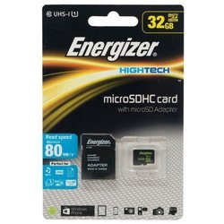 energizer microsdhc class 10 uhs-i u1 80mb/s 32gb + sd adapter