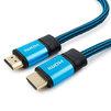 Кабель HDMI (M)-HDMI (M) 3м (Cablexpert CC-G-HDMI01-3M) (синий) - HDMI кабель, переходникHDMI кабели и переходники<br>Кабель HDMI (M)-HDMI (M), поддержка 3D изображения, поддержка Fast Ethernet-соединения, технология реверсивного звукового канала (ARC), 8-ми канальный звук, версия 1.4, алюминиевый корпус, нейлоновая оплетка, длина 3м.<br>