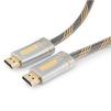 Кабель HDMI (M)-HDMI (M) 3м (Cablexpert CC-P-HDMI02-3M) (черно-золотистый) - HDMI кабель, переходникHDMI кабели и переходники<br>Кабель HDMI (M)-HDMI (M), поддержка 3D изображения, поддержка Fast Ethernet-соединения, одновременная передача двух видеопотоков на одном экране, версия 2.0, армированная оплетка, позолоченные разъемы, длина 3м.<br>