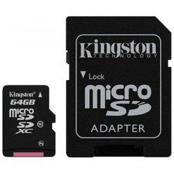 MicroSDXC 64GB Kingston + адаптер на SD (SDCX10/64GB)
