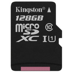 Kingston microSDXC 128Gb class 10 UHS-I + w/o adapter (SDCS/128GBSP)