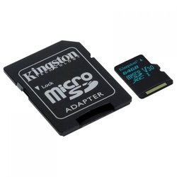 Kingston microSDXC 64Gb Сlass 10 UHS-I U3 + SD adapter (SDCG2/64GB)