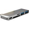 USB-хаб HyperDrive Multi-port USB-C GN21B (темно-серый) - USB HUBUSB HUB<br>USB Хаб, пассивный, количество портов: 5 (2хUSB 3.0, USB-C, microSDXC, SDXC Card reader). Материал корпуса: алюминий, подключение при помощи USB Type C. Данная модель рассчитана в первую очередь для MacBook 12.<br>
