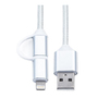 Кабель USB - Lightning + microUSB для Apple 5, 5S, SE, 5C, 6, 6 Plus, 6S, 6S Plus, 7, 7 Plus, 8, 8 Plus, X, ipad 4, Air, Air 2, mini, mini 2, mini 3, mini 4, ipad 2017, pro 9.7, pro 12.9, pro 10.5 (KS-is KS-285W) (белый) - Usb, hdmi кабель, переходникUSB-, HDMI-кабели, переходники<br>Кабель предназначен для подзарядки цифровых гаджетов Apple, оснащенных разъемом Lightning, а также для всех устройств на Android, Microsoft Windows Phone.<br>