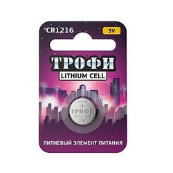 Литиевая батарейка Трофи CR1216 BL1