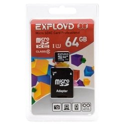 ��������� exployd microsdxc class 6 uhs-i u1 64gb + sd adapter